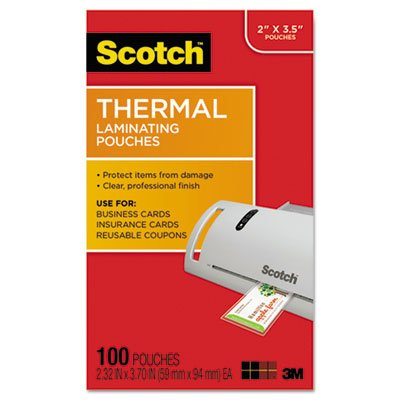 Large Product Image of Scotch Thermal Laminating Pouches, 2.32 x 3.70-Inches, Business Card Size, 100-Pack (TP5851-100)