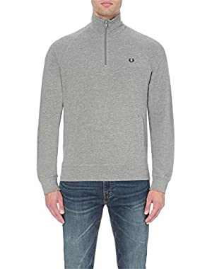 Mens HALF ZIP PIQUE SWEATSHIRT,STEEL MARL,XL
