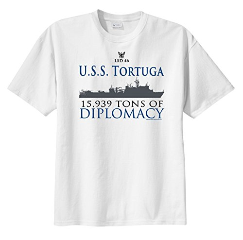 Uss Tortuga - ShipShirts™ Men's LSD 46 USS Tortuga 15,939 tons of Diplomacy Short Sleeve T-Shirt White XXXL