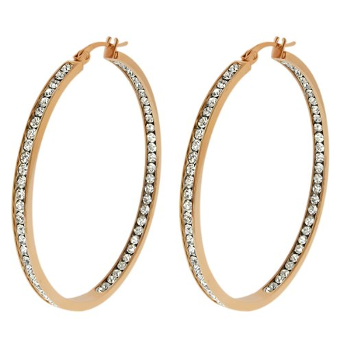 - 2 Inch Stunning Stainless Steel High Shine Inside-Out Hoop Earrings With CZ