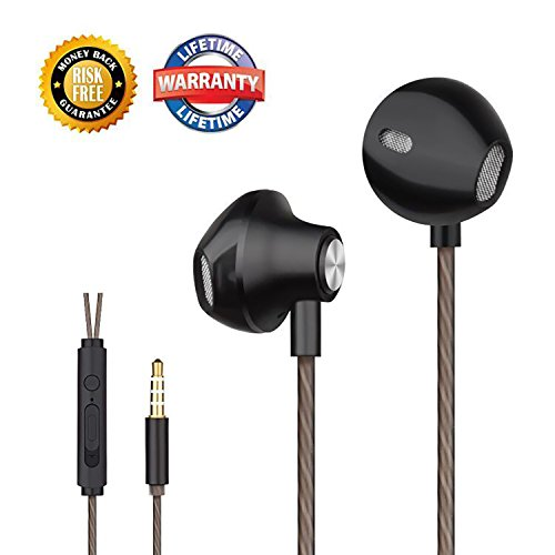 Earbuds Headphones Stereo In-ear Earphones Noise Isolating Wired Earphone with Mic and Volume Control Ergonomic Comfort-Fit for iPhone, iPod, iPad, Samsung and Mp3 players