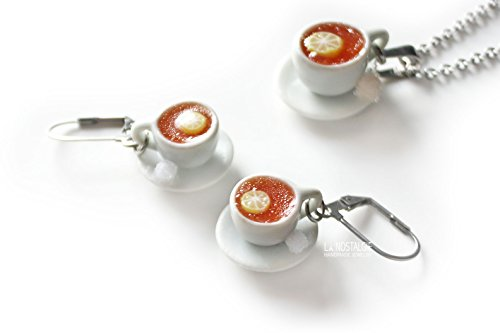 Tea Earrings Silver Clip-On Dangle Drop Teacup Jewelry for Tealovers Miniature Food English Tea with Lemon- La ()
