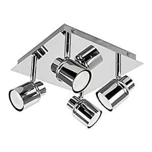 Modern Polished Chrome Square Plate Adjustable IP44 Bathroom 4 Way Ceiling Spotlight