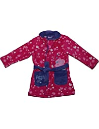Girls Spots Panel Print Coral Fleece Hooded Bath Robe