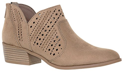 Imsu Women's Shoes Booties Laser Taupe Toe Deco Pointed MVE e Low Heel Chunky POw1nqSq6