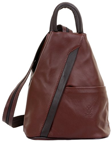 Primo Sacchi Italian Soft Napa Leather Mid Brown & Dark Brown Top Handle Shoulder Bag Rucksack Backpack