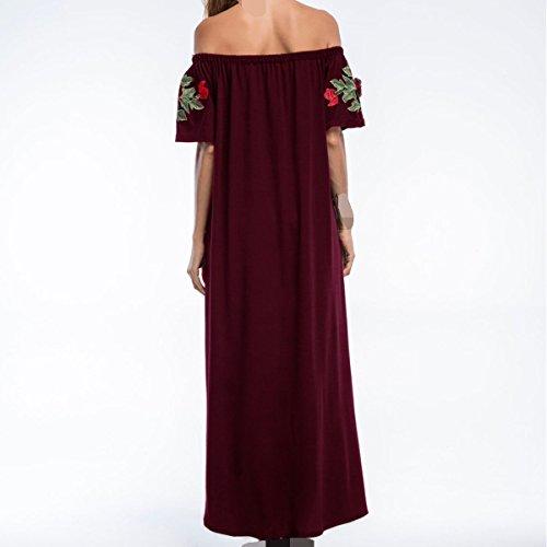 Ropa Moda Verano Ocio Bordado Suelto Vestido De Las Mujeres Red