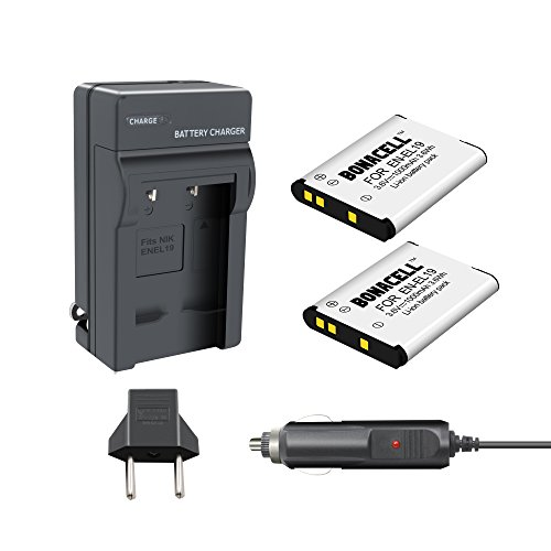 Bonacell 2 Pack Replacement Nikon EN-EL19 1000mAh Batteries and Charger Kit for Nikon Coolpix S32, S33, S100, S2800, S3100, S3200, S3300, S3500, S3600, S4100, S4200, S4300, S5200, S5300, S6500, S7000