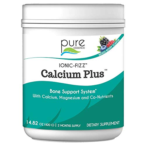 Pure Essence Labs Ionic Fizz Calcium Plus – Perfect Calcium/Magnesium Ratio With Every Co-Factor Needed For Strong Bones - Mixed Berry - 420 Grams