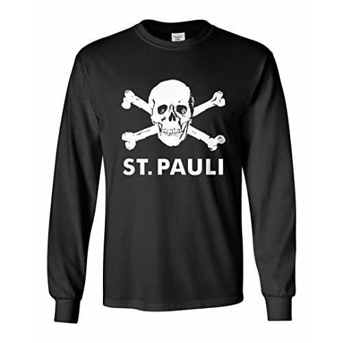 cheap Tcamp St Pauli Skull Soccer Fans Men's Long Sleeve T-shirt get discount