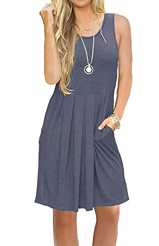 AUSELILY Round Neck Tank Sundresses Beach Cover Up Loose Dress for Women with Pockets Purple Gray L