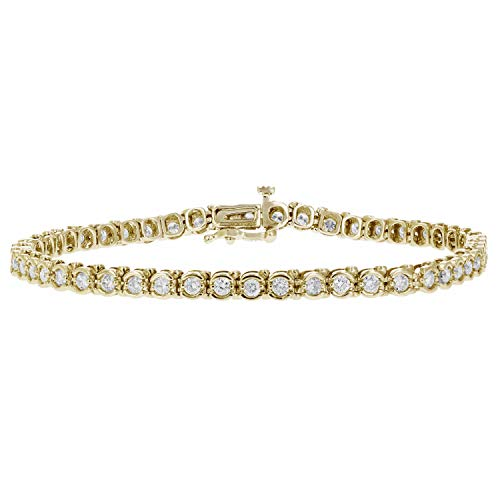 2 cttw Certified SI2-I1 Diamond Bracelet Bezel Set 14K Yellow Gold (G-H)