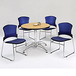 breakroom set four armless fabric chairs and 36 round table kitchen dining. Black Bedroom Furniture Sets. Home Design Ideas