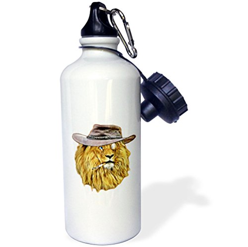 3dRose Sven Herkenrath Animal - Hipster African Lion with Hut and Smoking - 21 oz Sports Water Bottle - Hut African Pictures
