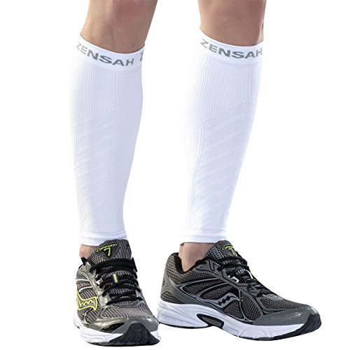 Guards Shin Roller (Zensah  Compression Leg Sleeves, White, Small/Medium)