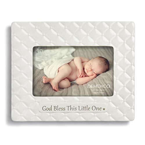 DEMDACO God Bless This Little One Glossy White 9 x 6 Ceramic Stoneware Photo Frame