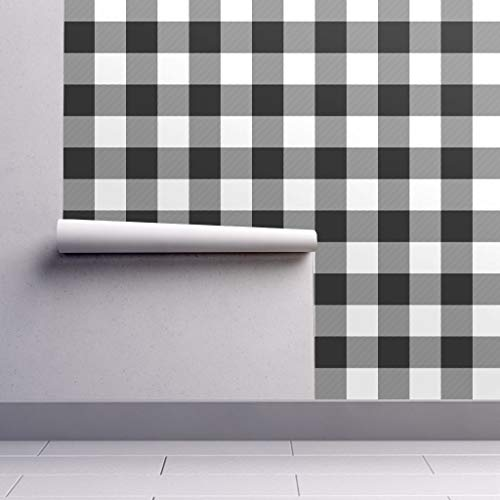 - Removable Water-Activated Wallpaper - Black and White Plaid Rustic Check Buffalo Check Check Buffalo Parka Black and by Weavingmajor - 24in x 96in Smooth Textured Water-Activated Wallpaper Roll