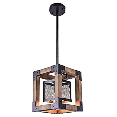 OYI Vintage Industrial Pendant Light, 1 Light Retro Kitchen Island Light Fixture Rectangular Wood Frame Metal Cage Hanging Chandeliers Ceiling Light Luminaire