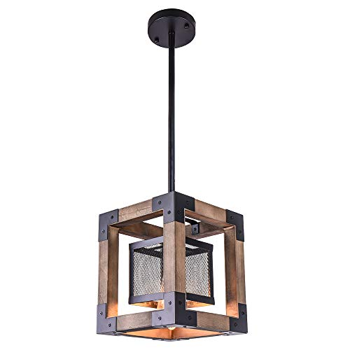OYI Vintage Industrial Pendant Light, 1 Light Retro Kitchen Island Light Fixture Rectangular Wood Frame Metal Cage Hanging Chandeliers Ceiling Light Luminaire