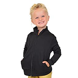 Stretch is Comfort Girl\'s Dance Cheer Performance Warm Up Jacket Black X-Small