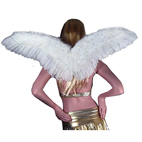 SACASUSA TM Large Adult Feather Halloween Fairy Angel Wings in White one Size ()