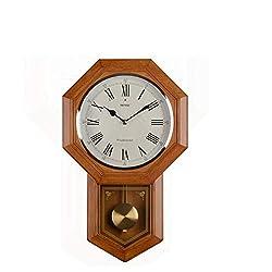 ZHJZBGZ Chinese Antique Pendulum Clock Living Room Wall Clock Octagonal Simple Creative European Wall Clock Wall Charts Mute Quartz Clock Wood Color Large (Design : A)
