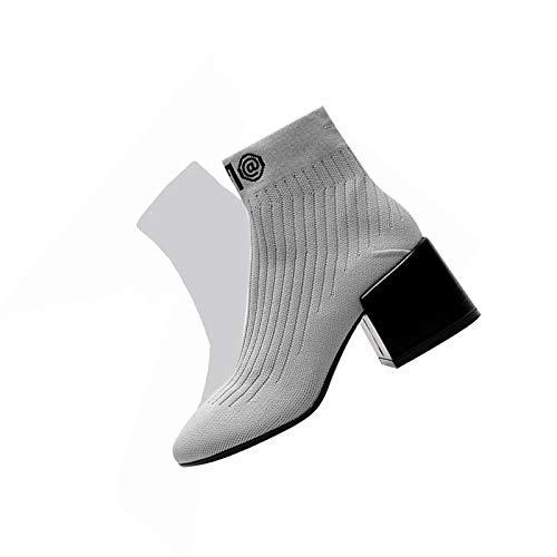 à Femme pour Bottines Tricoter élastiques Grey xBIq7FwU5q