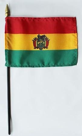 Bolivia - 10,16 cm x 15,24 cm bandera mundo Stick - fabricado