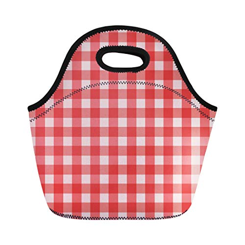 Semtomn Lunch Tote Bag Pattern Red Check Gingham Table 50S Abstract Bavarian Breakfast Reusable Neoprene Insulated Thermal Outdoor Picnic Lunchbox for Men Women