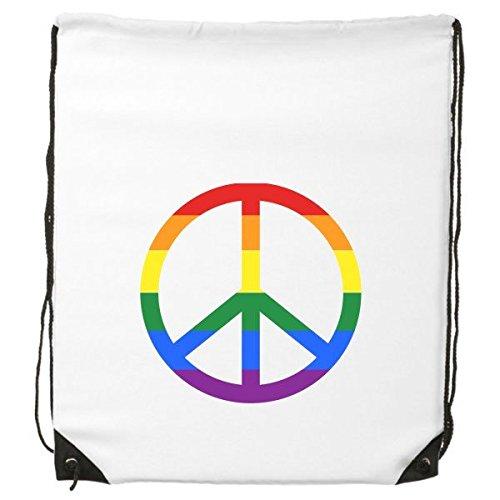 LGBT Stippling Rainbow Gay Lesbian Transgender BisexualsサポートAnti War Sign Illustration DrawstringバックパックFine Linesショッピングクリエイティブ環境ポリエステルハンドバッグショルダーバッグ B06XN5C3DT