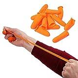 100PCS Orange Disposable Latex Rubber Finger Cots