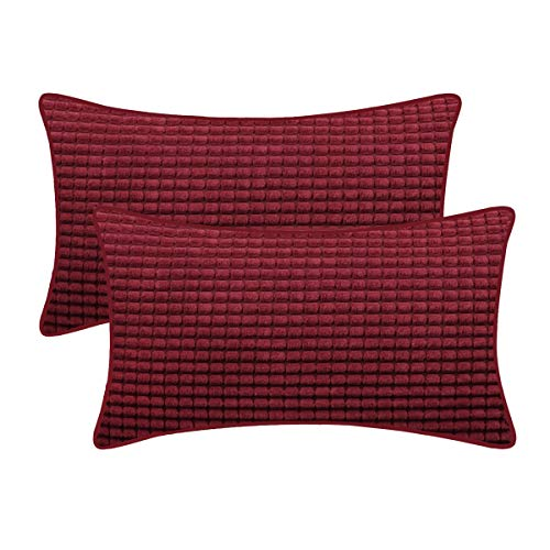 BRAWARM Cozy Bolster Pillow Covers Cases for Couch Sofa Bed Solid Corduroy Corn Striped Supersoft Cushion Covers with Piping Both Sides for Home Decor 12 X 20 Inches Burgundy Pack of 2 (Couch Country)