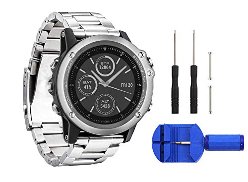 (Digit.Tail 26mm Stainless Steel Band Universal Replacement Watch Strap with Accessories for Garmin Fenix 2 / Fenix 3 HR/Fenix 3 Sapphire, Fenix 5X Smartwatch (Silver))