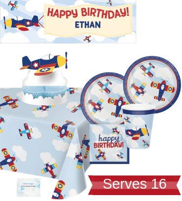 Airplane Party Supplies - Plates Cups Napkins Birthday Banner Tablecloth and Centerpiece for 16 People - Perfect Airplane Birthday -
