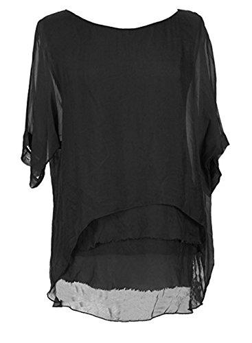 Sevello Clothing Womens Italian Short Sleeve Frill Silk Tunic Blouse USA 6-12 (Black)