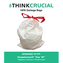 10PK Durable Garbage Bags Fit Simple Human M, 45L / 12 Gallon