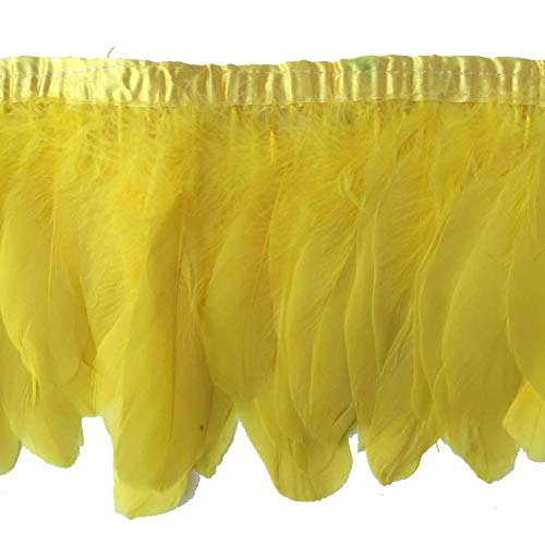 - Sowder Yellow Duck Goose Feather Trim Fringe 2 Yards