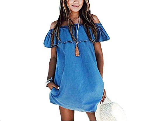 Ladies Denim Dress (Holly's Women's Off Shoulder Denim Shirt Dress Skirt (Tag XL))