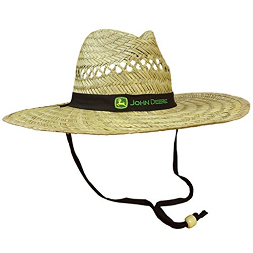 John Deere Brand Black Straw Hat with Neck Strap -