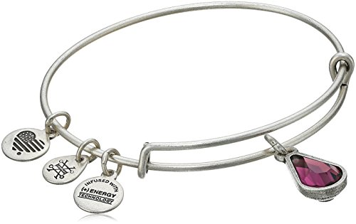 Alex and Ani February Birth Month Charm with Swarovski Crystal Rafaelian Silver Bangle Bracelet ()