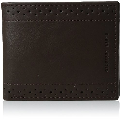 (Geoffrey Beene Men's Stitched Perforated Rfid Blocking Bifold Wallet, Brown, One Size)