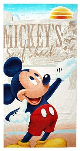 Get Wivvit Niños Disney Mickey Mouse Surf Cabaña Toalla Playa Baño Piscina algodón 140cm x 70cm - Beige, One Size: Amazon.es: Hogar