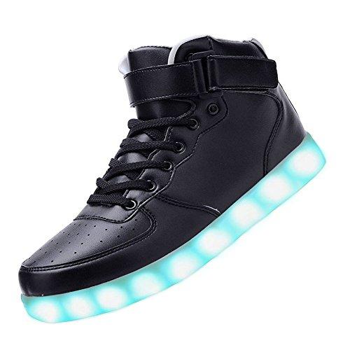 Charge Flyhigh 7 Usb Led De Couleur Chaussures Sport Brillantes D'espadrille Pour Hommes Unisexe Femmes Adultes Haut-top Noir