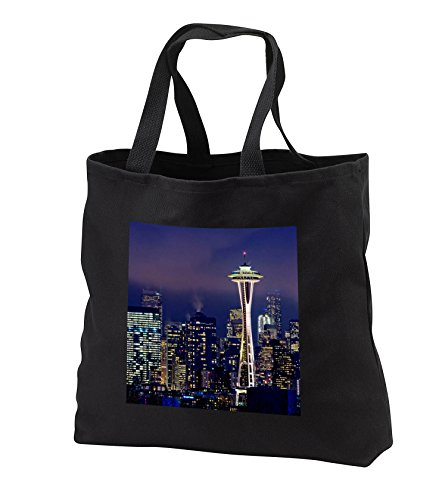 Boehm Photography Travel - Downtown Seattle at Night - Tote Bags - Black Tote Bag JUMBO 20w x 15h x 5d - Downtown Shopping Seattle