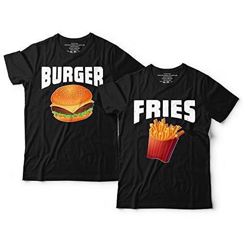 Funny Burger And French-Fries Halloween Shirt Junk-Food Couple