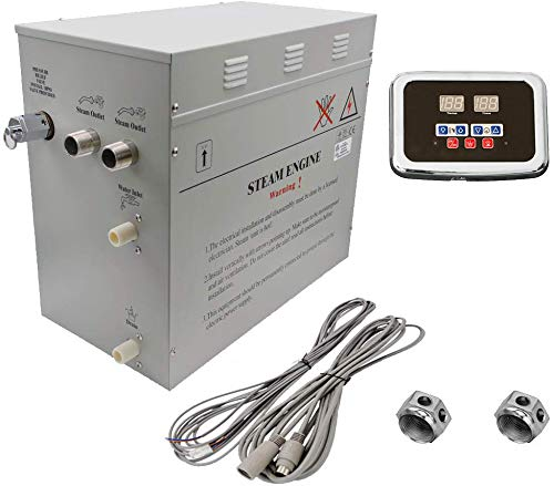 Steam Bath - Sauna Bath Steam Generator (Self Draining) with Programmable Control Panel & Chrome Steam Outlet for Your Home Steam Bath - 12KW - w/ 2-Sided Bath Brush - Generator Bath Steam Generators