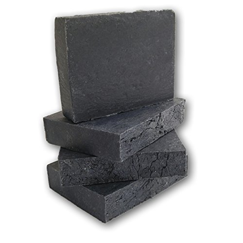 - Activated Charcoal Soap Bars for Acne, Blemishes, Blackheads, Psoriasis, Sensitive Skin - Handmade in USA with Organic, Non-GMO, Unscented Ingredients (4 Bar Pack, 4.5 ounces each).