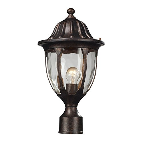 Elk 45005/1 Glendale 1-Light Outdoor Post Mount with Water Glass Shade, 9 by 17-Inch, Regal Bronze - Glendale Outlet
