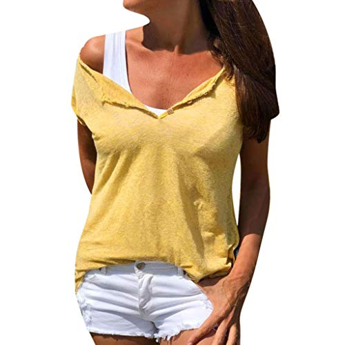 Sunhusing Women's Solid Color Casual V-Neck Short-Sleeve Button-Down Shirt Summer Slim Fit Joker T-Shirt Yellow - Poppy Scrub Hat