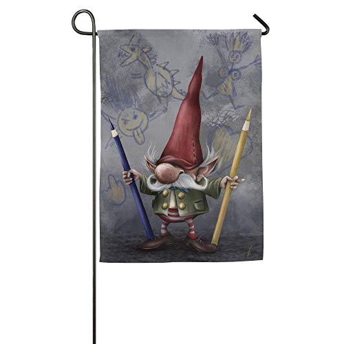 (HUVATT Personalized Gnomes Season Porch Yard House Garden Flags 12x18 inches Polyester Fiber Banners)